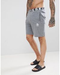 DIESEL - Gray Large Logo Lightweight Lounge Shorts Grey for Men - Lyst