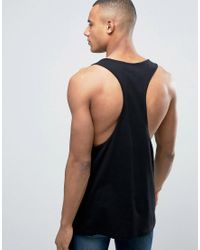 ASOS Tank With Extreme Racer Back In Black for men