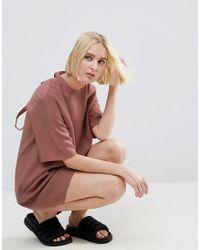 ASOS - Pink Lattice Back Tshirt Mini Dress With Eyelet Detail - Lyst