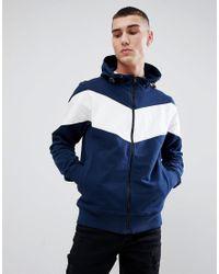 Felpa con cappuccio e zip blu navy con colore a contrasto di Another Influence in Blue da Uomo