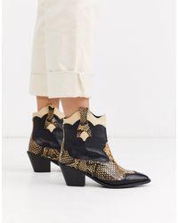 SELECTED Black Femme Snake Mix Cowboy Boots