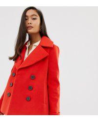 Manteau croisé Miss Selfridge en coloris Red