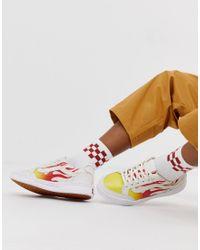 Белые Кроссовки С Принтом Пламени Vans, цвет: Multicolor
