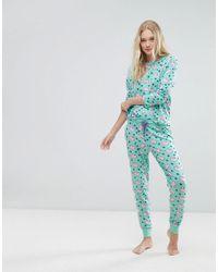 Chelsea Peers Green Flying Pigs Long Pyjama Set