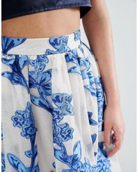 True Violet Blue Burnout Floral Maxi Skirt