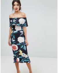 True Violet Black Bardot Pephem Midi Dress In Bold Floral Print