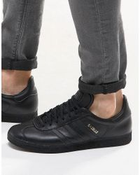 adidas Originals Leather Gazelle Sneakers In Black Bb5497 for Men ...