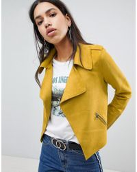 River Island Yellow Faux Suede Cropped Jacket
