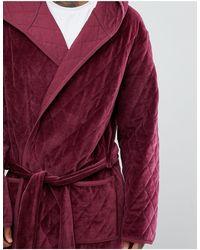 Стеганый Велюровый Халат С Капюшоном Asos-красный ASOS для него, цвет: Red