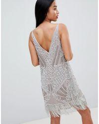 ASOS - Gray Asos Edition Petite Embellished Cami Mini Dress - Lyst