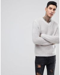 ASOS Asos Heavyweight Knitted V Neck Sweater In Gray for men