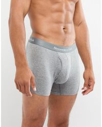 Abercrombie & Fitch Gray 3 Pack Boxers Logo Waistband In White/grey/black for men
