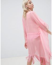 Pieces Pink Beach Caftan With Fringing