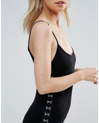 ASOS - Black Cami Bodycon Dress With Hook And Eye Tape - Lyst