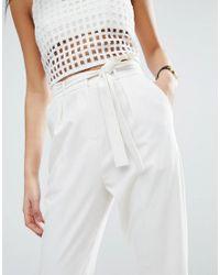 ASOS - White Woven Peg Pants With Obi Tie - Lyst