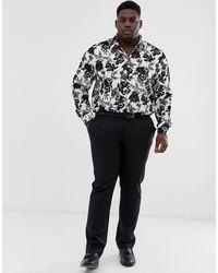 Camisa muy ajustada en blanco y negro con detalles en relieve Twisted Tailor de hombre de color White