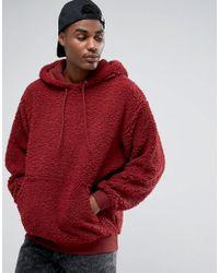 ASOS Red Oversized Hoodie In Borg for men