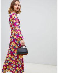 Reclaimed (vintage) Brown Inspired – Midaxi-Kleid mit Blumenmuster