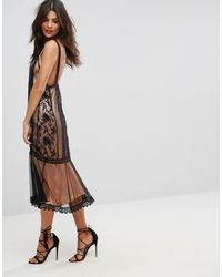 ASOS Black Asos Lace Paneled Midi Dress