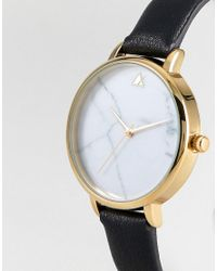 ASOS - Metallic Marble Face Black Strap Watch - Lyst
