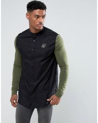 Siksilk - Muscle Shirt In Black With Jersey Sleeves for Men - Lyst