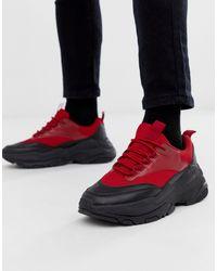 Zapatillas rojas con suela gruesa ASOS de hombre de color Red
