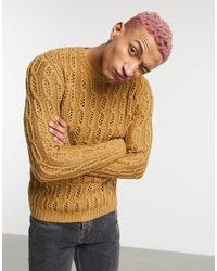 Фактурный Ажурный Джемпер Светло-коричневого Цвета ASOS для него, цвет: Multicolor