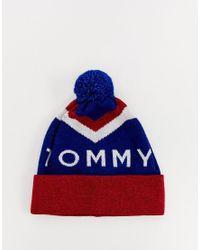 Bonnet à chevrons Tommy Hilfiger en coloris Blue