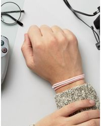 ASOS - Bracelet Pack In Pink Faux Suede - Lyst