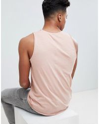 Solid Pink Tank With Raw Edge for men