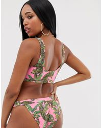Эксклюзивные Розовые Бикини Плавки-танга С Тропическим Принтом ASOS, цвет: Multicolor