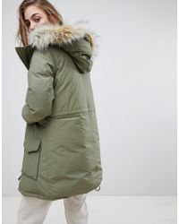 Levi's Green Parka With Faux Fur Hood