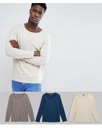 Confezione multipla da 3 T-shirt a maniche lunghe con scollo rotondo - Risparmia di ASOS in White da Uomo
