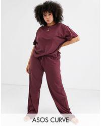 ASOS Brown Asos Design Curve Mix & Match Pyjama Jersey Trouser