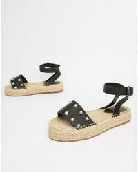 ASOS Black Design Jake Wide Fit Studded Espadrille Sandals