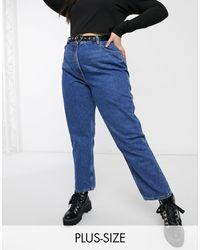 Plus - x006 - Mom jeans blu stone wash scuro di Collusion in Blue