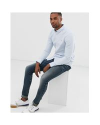 Brewer - Camicia Oxford slim blu di Farah in Blue da Uomo
