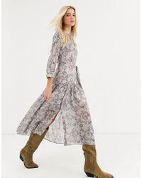 Vestido midi con estampado de serpiente y manga 3/4 Eley Midgard AllSaints de color Gray