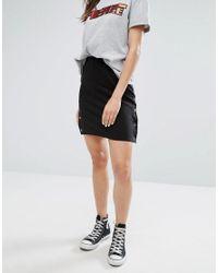Daisy Street Black Mini Skirt With Popper Sides