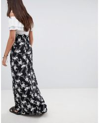 ASOS - Black Maxi Skirt With Paperbag Waist In Mono Floral Print - Lyst