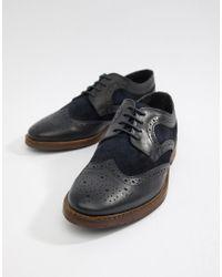 Chaussures richelieu en daim - Bleu marine Moss Bros pour homme en coloris Blue