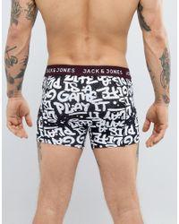 Jack & Jones - Black 3 Pack Trunks In Graffiti for Men - Lyst