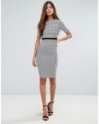 Vesper Multicolor 3/4 Sleeve Pencil Dress In Checked Print