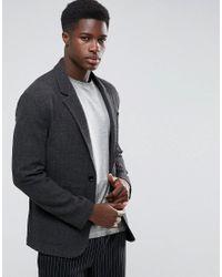 ASOS Unstructured Slim Blazer In Gray Texture for men