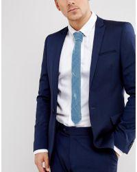 ASOS DESIGN - Velour Tie In Blue for Men - Lyst