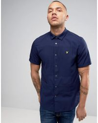 Lyle & Scott Blue Pique Shirt Short Sleeve Buttondown Regular Fit Eagle Logo In Navy for men