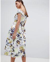 Closet Multicolor Bardot Floral Midi Dress
