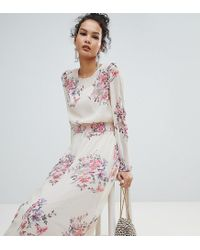 Miss Selfridge Pink High Neck Floral Mesh Maxi Dress
