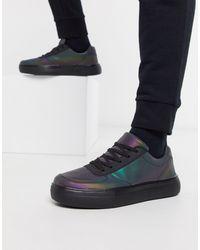BoohooMAN Multicolor Oil Reflective Lace Up Trainer for men
