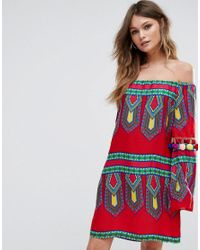 Boohoo Red Printed Bardot Dress With Pom Trim